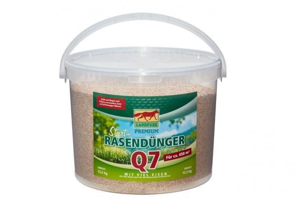 Landfuxx Start-Rasendünger Q7 + Eisen 12,5 kg Eimer gegen Moos